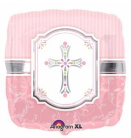 "Communion Blessing Pink 18"" Mylar Balloon"