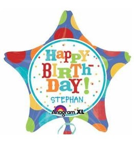 "Birthday Fever Fun Star Personalize It 18"" Mylar Balloon"