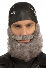 Curly Grey Beard   With Moustache