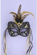 Black & Gold Lace Mask