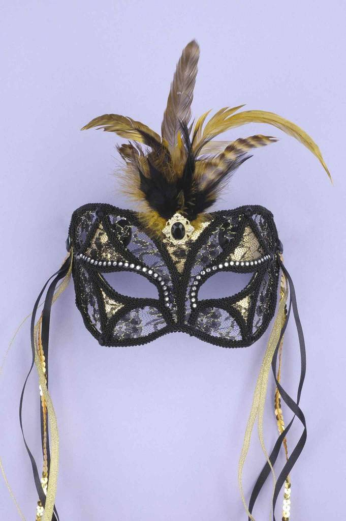 Black & Gold Lace Mask