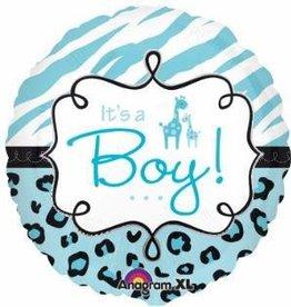 """Safari Baby Boy 18"""" Mylar Balloon"""