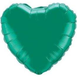 Emerald Green Heart 18'' Mylar Balloon