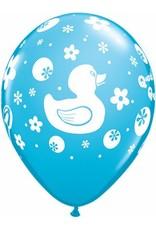 "11"" Printed Special Rubber Duckie Balloon 1 Dozen Flat"