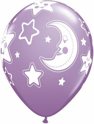 "11"" Printed Special Baby Moon & Stars Balloon 1 Dozen Flat"