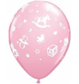 """11"""" Printed Pastel Baby's Nursery Balloon 1 Dozen Flat"""