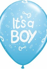 "11"" Printed Pale Blue It's A Boy Rattle Balloon 1 Dozen Flat"