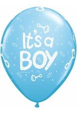 """11"""" Printed Pale Blue It's A Boy Rattle Balloon 1 Dozen Flat"""