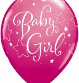 "11"" Printed Baby Girl Stars Balloon 1 Dozen Flat"
