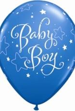 "11"" Printed Baby Boy Stars Balloon 1 Dozen Flat"