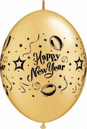 "12"" Printed Gold New Years Party Quicklink Balloon 1 Dozen Flat"