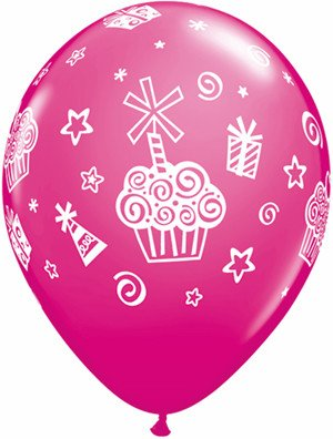 "11"" Printed Tropical Cupcakes & Presents Balloon 1 Dozen Flat"