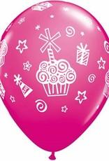 "11"" Printed Tropical Cupcakes & Presents Balloons 1 Dozen Flat"