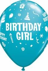 "11"" Printed Special Birthday Girl Balloon 1 Dozen Flat"