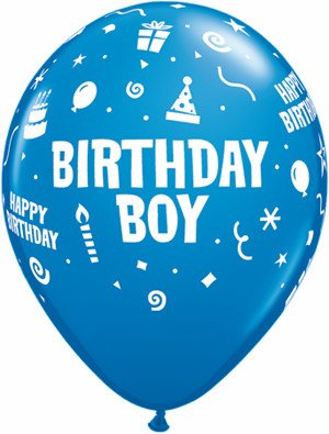 "11"" Printed Special Birthday Boy Balloon 1 Dozen Flat"