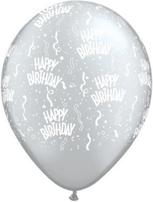 "11"" Printed Silver Birthday Around Balloon 1 Dozen Flat"