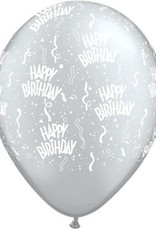 "11"" Printed Birthday Around Silver Balloons 1 Dozen Flat"