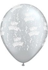 "11"" Printed Birthday Around Silver Balloons 1 Dozen Flat"