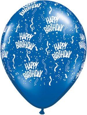 """11"""" Printed Sapphire Blue Birthday Around Balloon 1 Dozen Flat"""