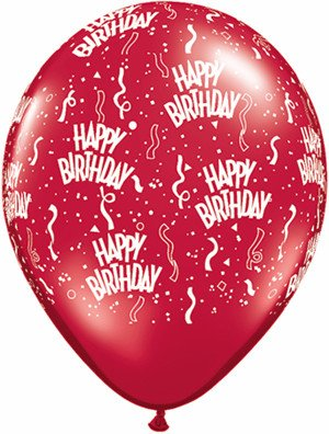 "11"" Printed Birthday Around Ruby Red Balloons 1 Dozen Flat"