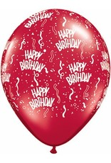 "11"" Printed Birthday Around Ruby Red Balloons 1 Dozen Flat"