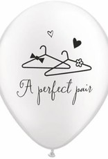 "11"" Printed Pearl White A Perfect Pair Balloon 1 Dozen Flat"
