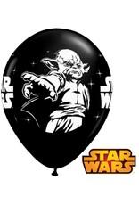 "11"" Printed Onyx Black Star Wars Balloon 1 Dozen Flat"