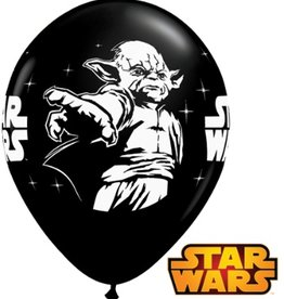 "11"" Printed Onyx Black Star Wars Balloon 1 Dozen Flat"