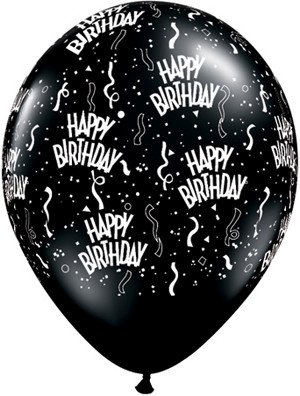 "11"" Printed Birthday Around Onyx Black Balloons 1 Dozen Flat"