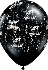"""11"""" Printed Onyx Black Birthday Around Balloon 1 Dozen Flat"""
