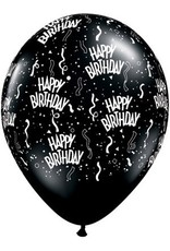 "11"" Printed Birthday Around Onyx Black Balloons 1 Dozen Flat"