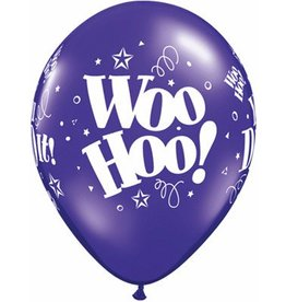 "11"" Printed Jewel Woo Hoo! You Did It! Balloon 1 Dozen Flat"