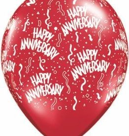 "11"" Printed Jewel Assortment Anniversary Around Balloon 1 Dozen Flat"