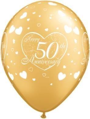 "11"" Printed Gold 50th Anniversary Balloon 1 Dozen Flat"