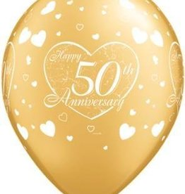 "11"" Printed Gold 50th Anniversary Balloon 1 Dozen Flat"