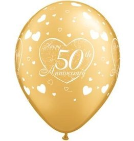 """11"""" Gold 50th Anniversary Balloon Uninflated"""