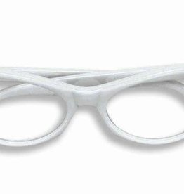 Glasses 50's Rhinestone White