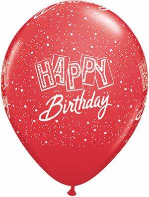 "11"" Printed Festive Birthday Confetti Balloon 1 Dozen Flat"