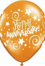 "11"" Printed Fantasy Anniversary Stars Balloon 1 Dozen Flat"