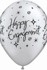 "11"" Printed Engagement Elegant Sparkle Balloon 1 Dozen Flat"