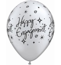 "11"" Printed Engagement Elegant Sparkle Balloon 1 Dozen Flat"