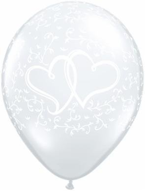 "11"" Printed Clear Entwined Hearts Balloon 1 Dozen Flat"
