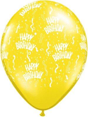 "11"" Printed Citrine Yellow Birthday Around Balloon 1 Dozen Flat"