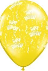 """11"""" Printed Birthday Around Citrine Yellow Balloons 1 Dozen Flat"""