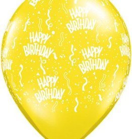 "11"" Printed Birthday Around Citrine Yellow Balloons 1 Dozen Flat"