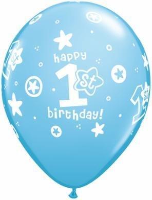 "11"" Printed 1st Birthday Blue Circle Stars Balloons 1 Dozen Flat"