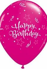 """11"""" Printed Birthday Shining Star Balloons 1 Dozen Flat"""