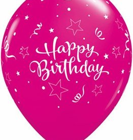 "11"" Printed Birthday Shining Star Balloon 1 Dozen Flat"
