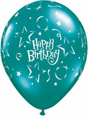 "11"" Printed Birthday Fantasy Stars & Balloons Balloon 1 Dozen Flat"