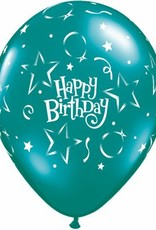 "11"" Printed Birthday Fantasy Stars & Balloons 1 Dozen Flat"